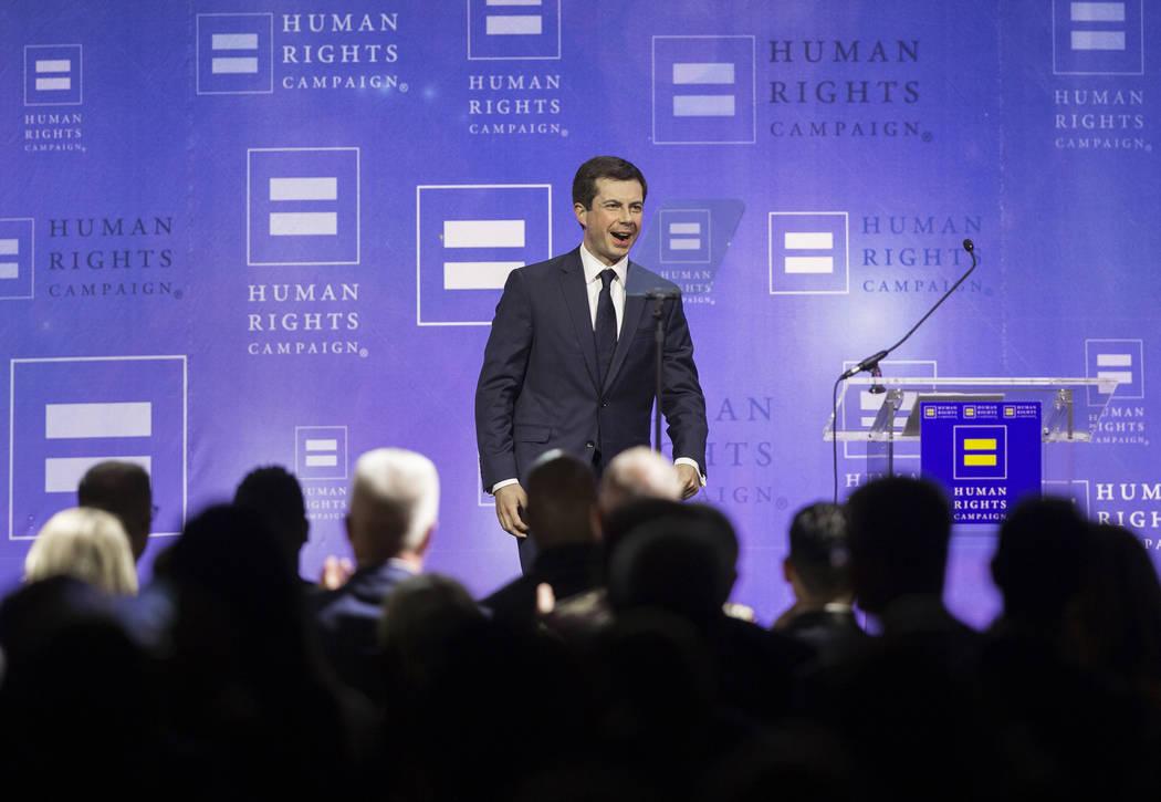 Democratic presidential candidate Pete Buttigieg walks on stage during 14th Annual HRC Las Vega ...