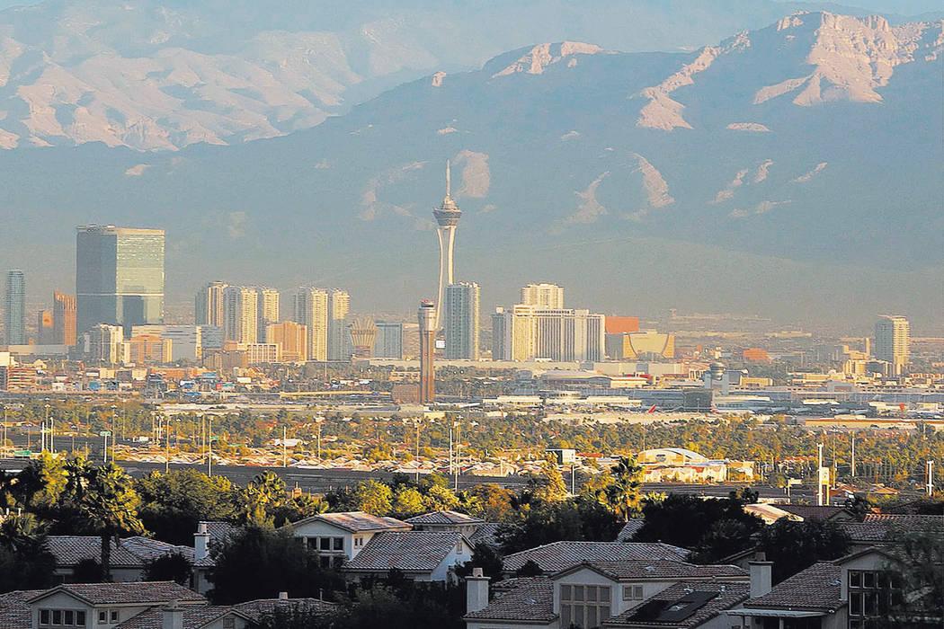 The morning sun shines brightly over the Las Vegas Strip in 2016. (Bizuayehu Tesfaye/Las Vegas ...