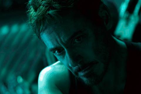 "This image released by Disney shows Robert Downey Jr. in a scene from ""Avengers: Endgame ..."