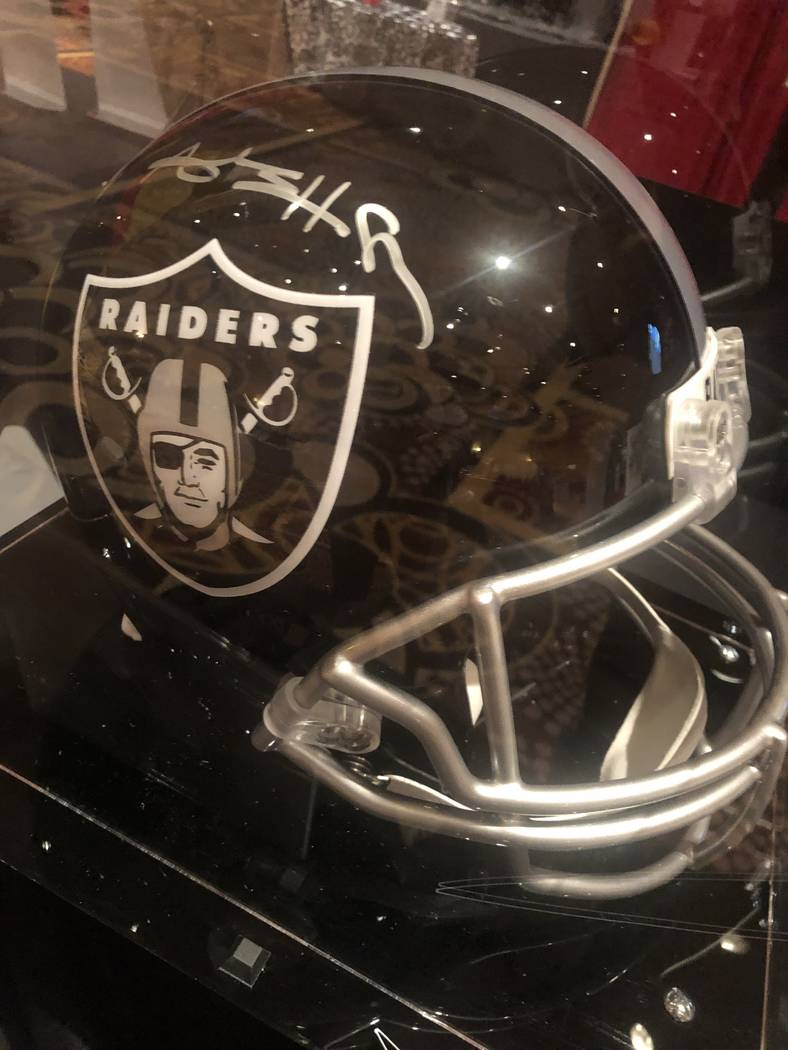 A look at the all-black, unofficial Raiders helmet from the JDRF Gala at Mandalay Bay on Friday ...