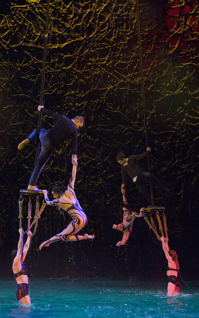 "Performers with Cirque du Soleil rehearse the scene ""Fishermen"" during a sneak pr ..."