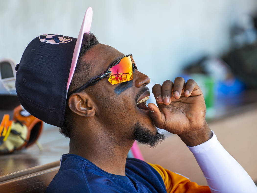 Aviators shortstop Jorge Mateo (14) cheers on his teammates from the dugout as they face the Ta ...
