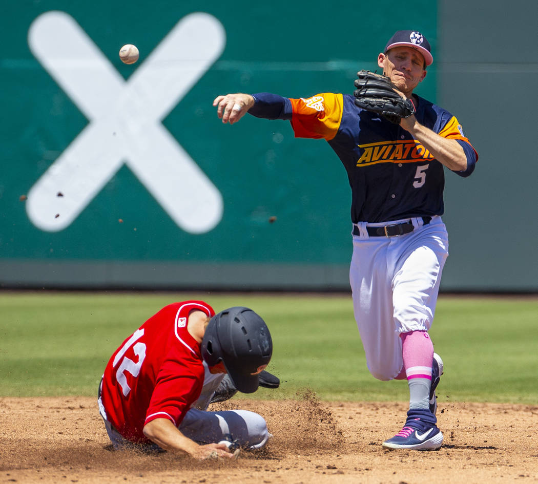 Tacoma Rainiers runner Connor Kopach (12) slides into second base late as Aviators second basem ...