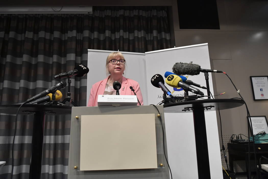 Vice chief prosecutor Eva-Britt speaks at a press conference in Stockholm, Sweden, Monday May 1 ...