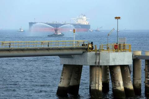 An oil tanker approaches to the new Jetty during the launch of the new $650 million oil facilit ...