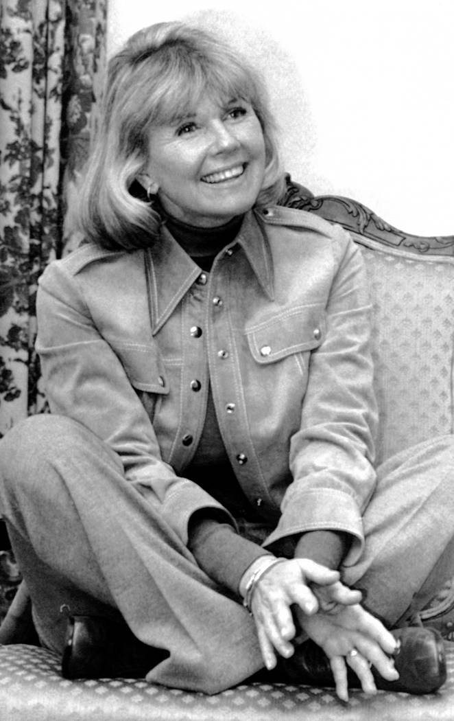 """Actress and singer Doris Day answers questions in New York, during an interview on the book """"Do ..."""