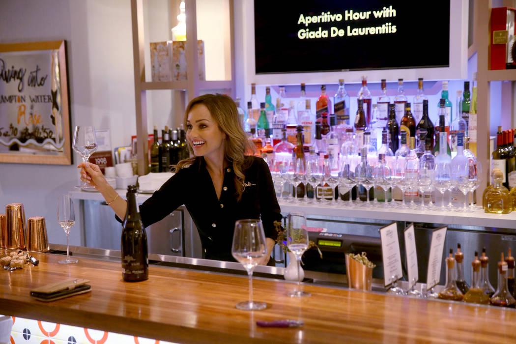 Giada De Laurentiis toasts her guests at the start of Aperitivo Hour with Giada De Laurentiis a ...
