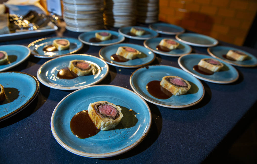 Beef Wellington ready for tasting during a Vegas Uncork'd meal at the Gordon Ramsay Pub & G ...