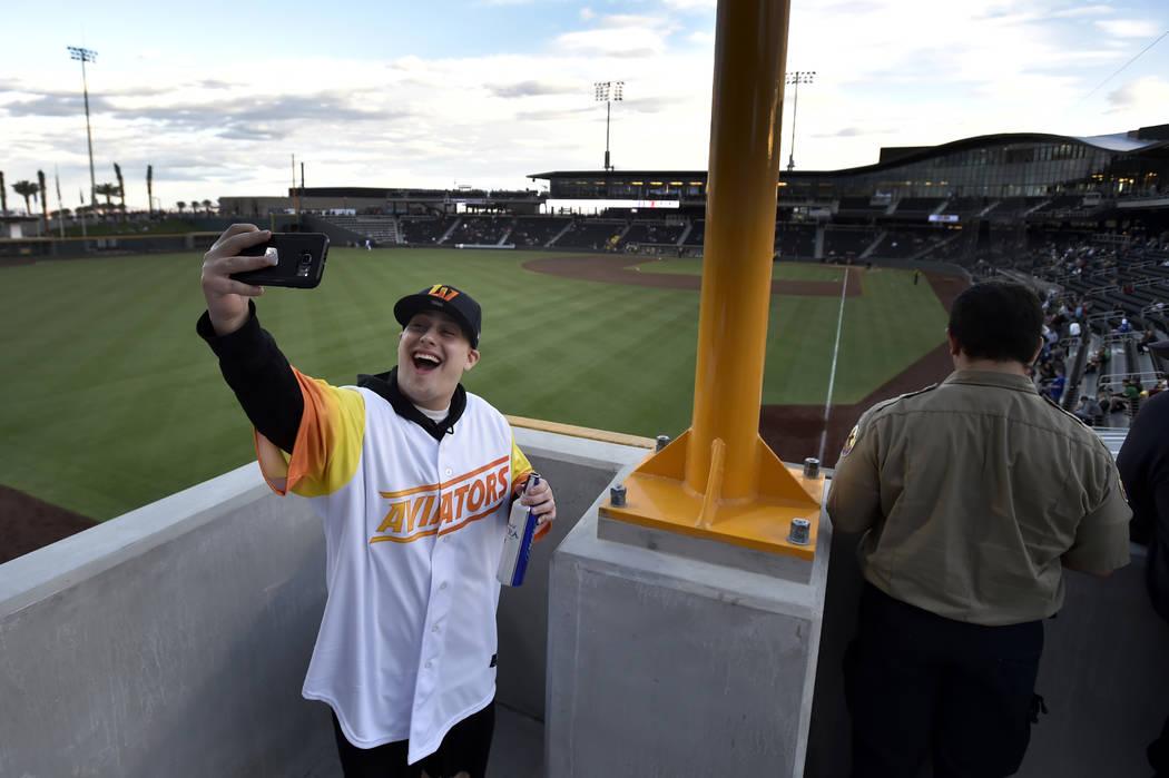 Joel Rihaly of Las Vegas takes a selfie from left field before the Las Vegas Aviators play the ...