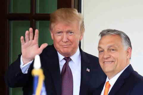 President Donald Trump welcomes Hungarian Prime Minister Viktor Orban to the White House in Was ...