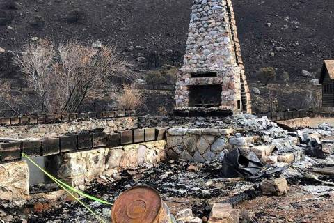 A photo provided by the Elko Lion's Club, shows the fireplace and chimney, the only thing remai ...
