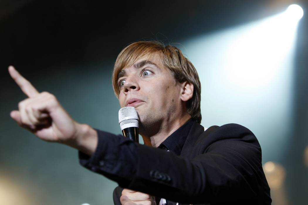 Pelle Almqvist singer of Swedish band The Hives performs on the main stage during the Gampel O ...