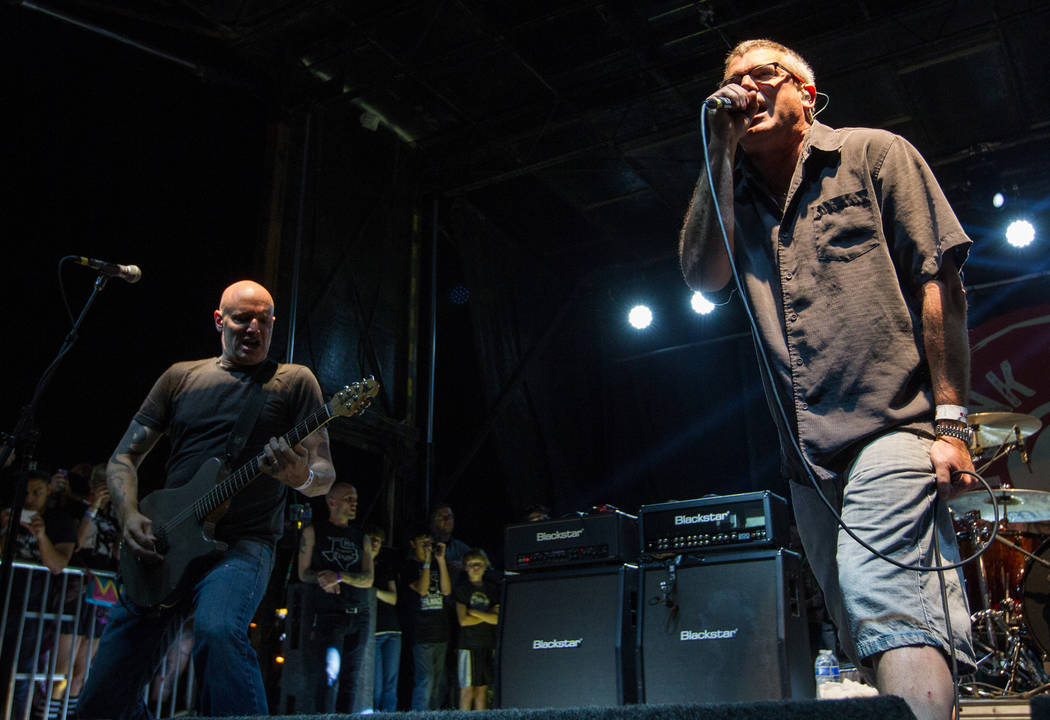 Milo Aukerman, right, and Stephen Egerton of the Descendents perform at the Punk Rock Bowling m ...