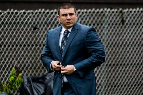 New York City police officer Daniel Pantaleo leaves his house Monday, May 13, 2019, in Staten I ...