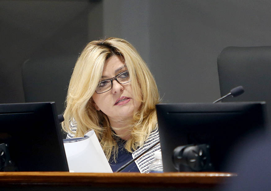 Las Vegas Councilwoman Michele Fiore asks questions at the Las Vegas Convention and Visitors Au ...