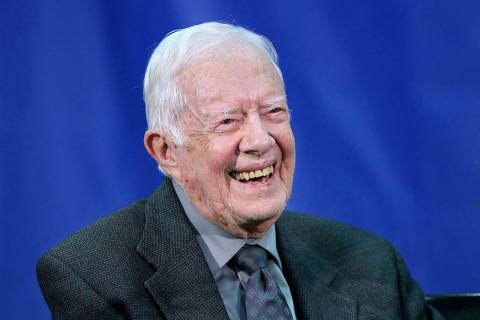 File-This Sept. 12, 2018, file photo shows former President Jimmy Carter, 93, answering questio ...