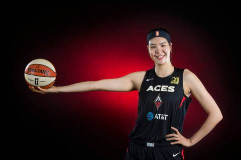 Las Vegas Aces center Ji-Su Park (19) during media day at Mandalay Bay Events Center on May 13, ...