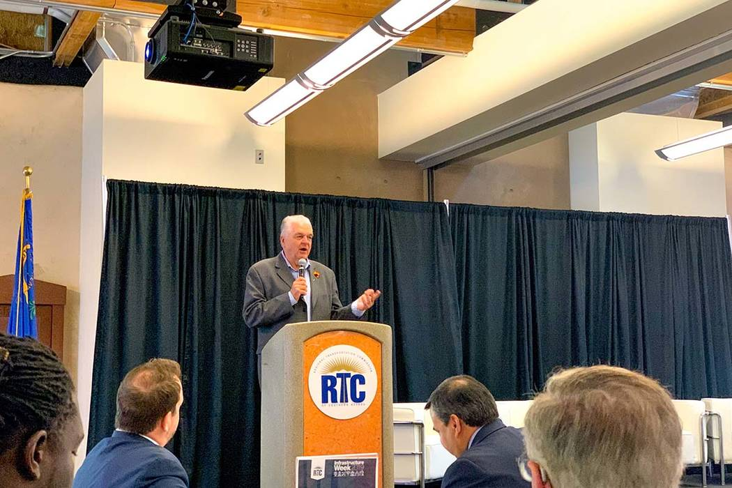 Gov. Steve Sisolak discusses the importance of infrastructure projects in Las Vegas Monday, May ...