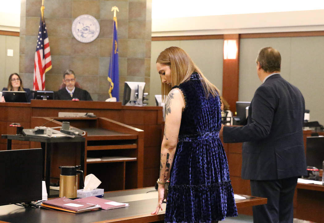 Former Attorney Alexis Plunkett, second right, appears in court at the Regional Justice Center ...