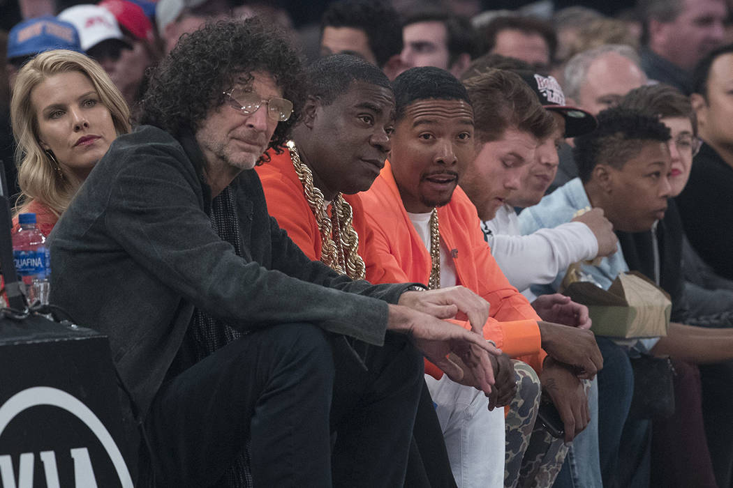 Howard Stern, second from left, Beth Ostrosky Stern, left, Tracy Morgan, third from left, Allen ...
