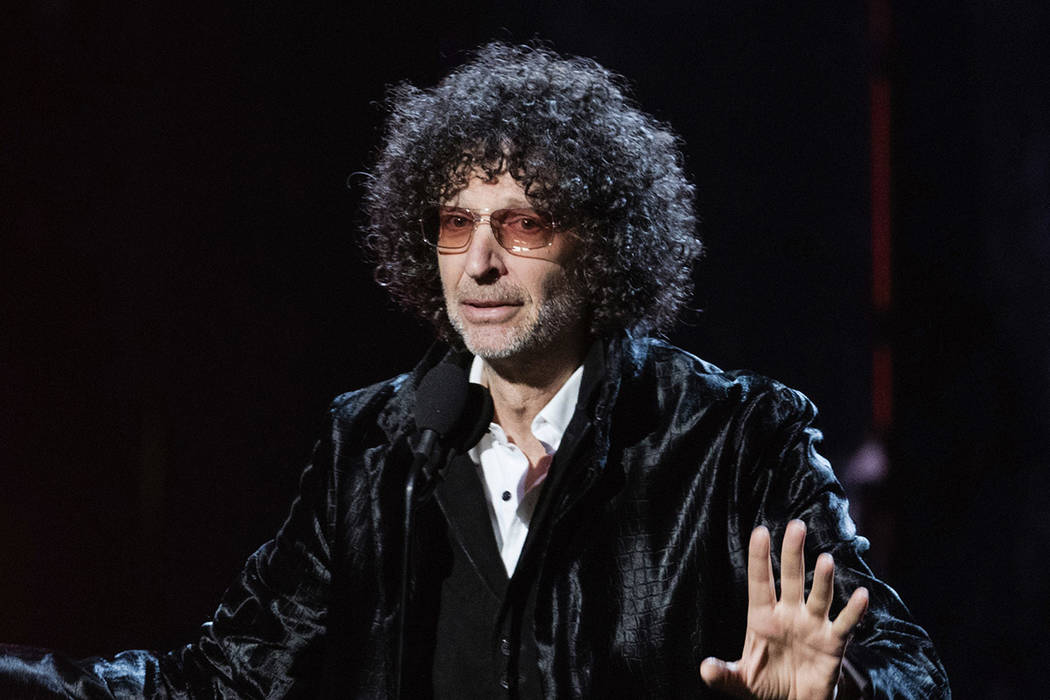 FILE - In this April 14, 2018 file photo, Howard Stern speaks at the 2018 Rock and Roll Hall of ...