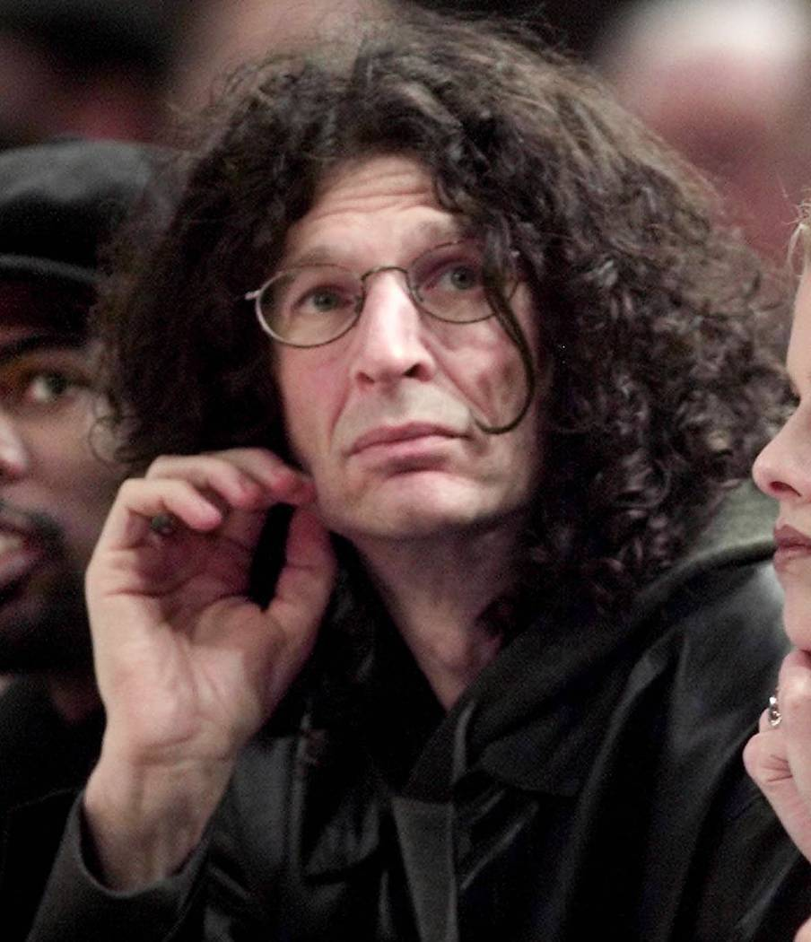 Radio personality Howard Stern awatch the New York Knicks play the Indiana Pacers at Madison Sq ...