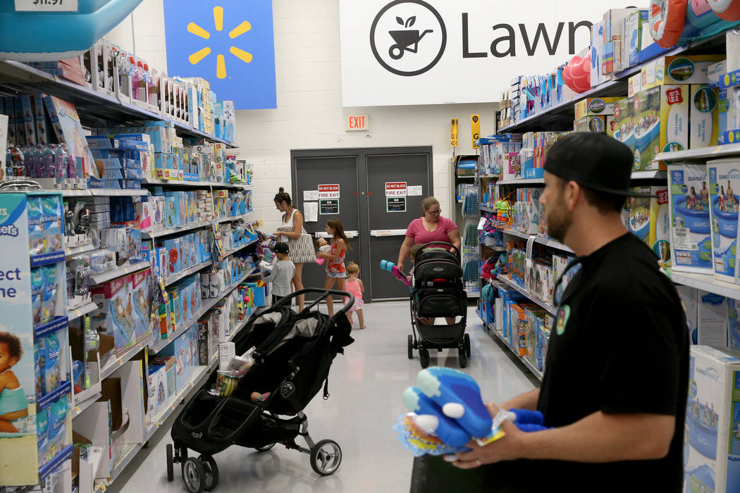 Shoppers at Walmart at 2310 E. Serene Ave. in Las Vegas Tuesday, March 14, 2019. K.M. Cannon La ...