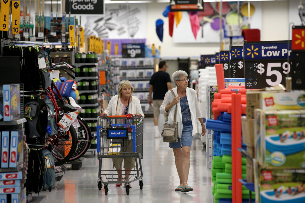 Jeannie Allen and Joyce Hill shop at Walmart at 2310 E. Serene Ave. in Las Vegas Tuesday, March ...