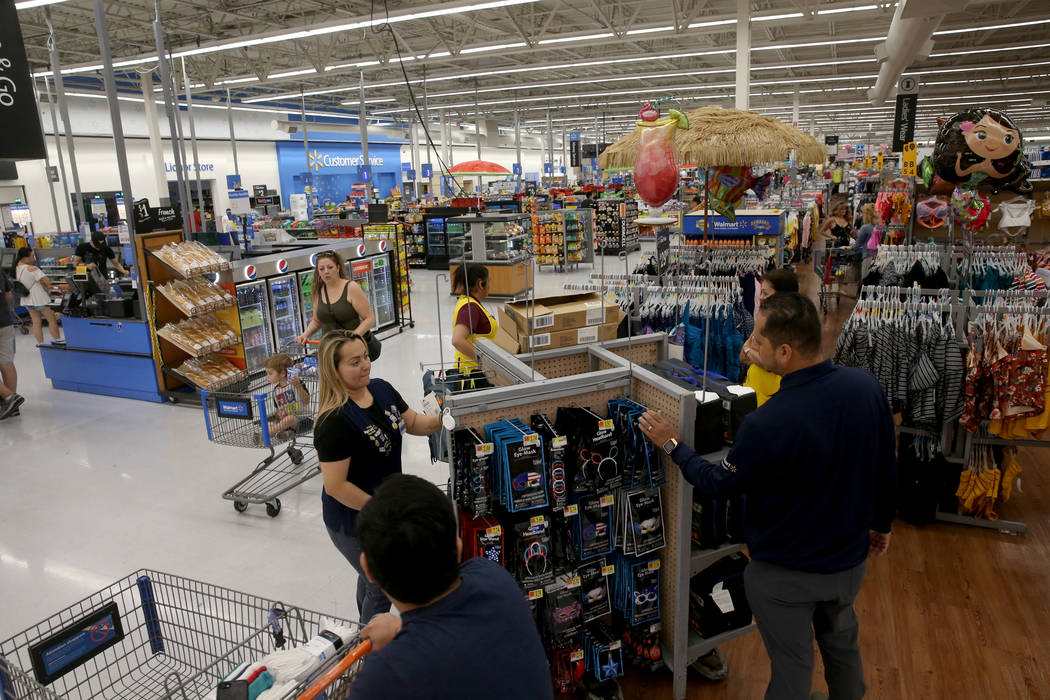 Shoppers and workers at Walmart at 2310 E. Serene Ave. in Las Vegas Tuesday, March 14, 2019. K. ...