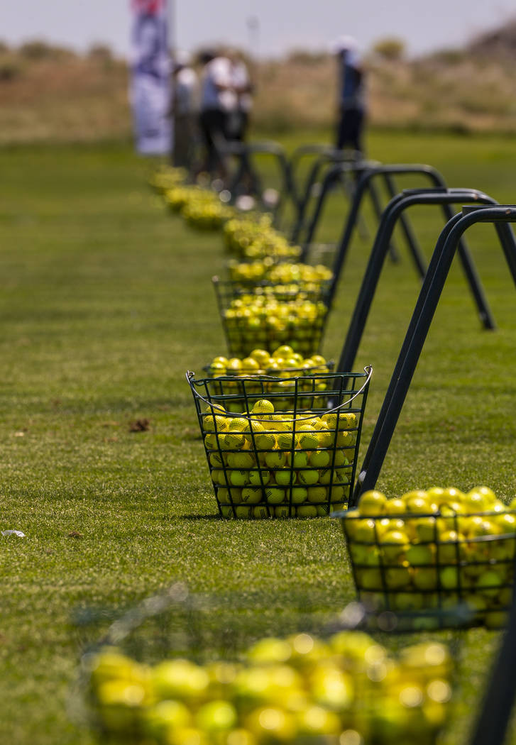 Baskets of balls are ready for players on the practice range during a PGA US Open qualifying ro ...