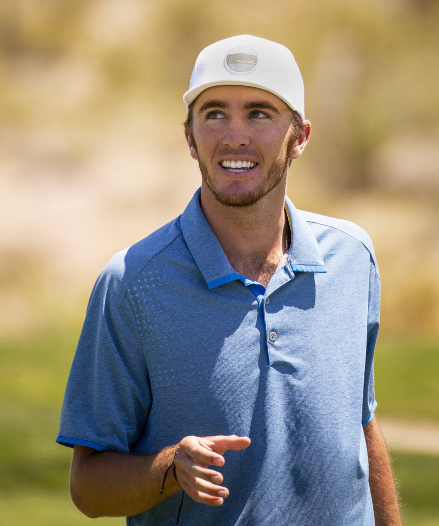 Golfer Van Thomas is pleased with another great hole during a PGA US Open qualifying round at t ...