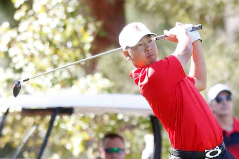 Justin Kim, shown in a 2017 file photo, shot a 4-under 68 to help the UNLV men's golf team mo ...