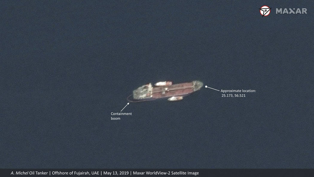 This satellite image provided by Maxar Technologies shows the Emirati-flagged oil tanker A. Mic ...