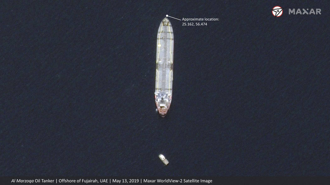 This satellite image provided by Maxar Technologies shows the Saudi-flagged oil tanker Al Marzo ...
