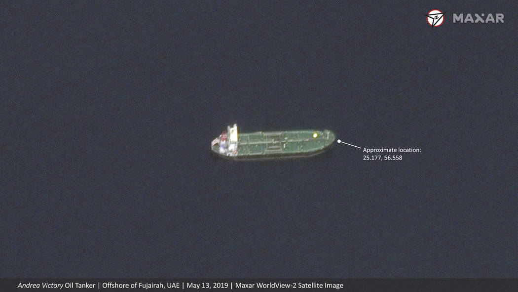 This satellite image provided by Maxar Technologies shows the Norwegian-flagged oil tanker Andr ...