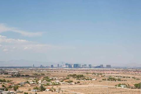 A view of the Las Vegas Strip from Exploration Peak Park. The Las Vegas Valley can expect tempe ...