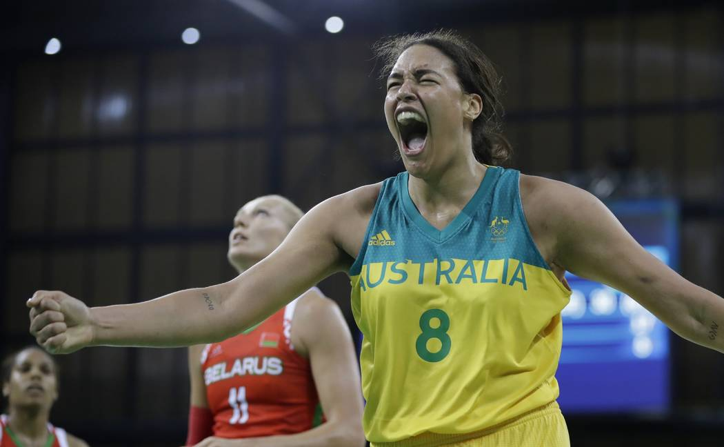 Australia center Liz Cambage reacts after making a basket and receiving a foul during the secon ...