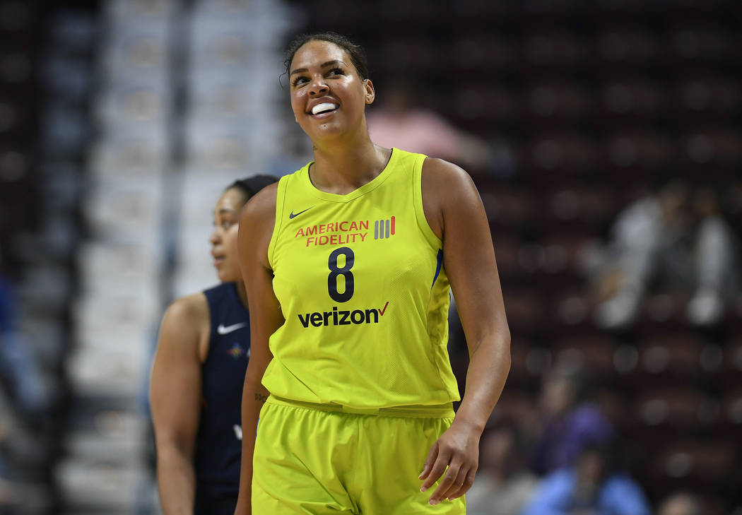 FILE - In this May 8, 2018, file photo, Dallas Wings' Liz Cambage smiles during a preseason WNB ...