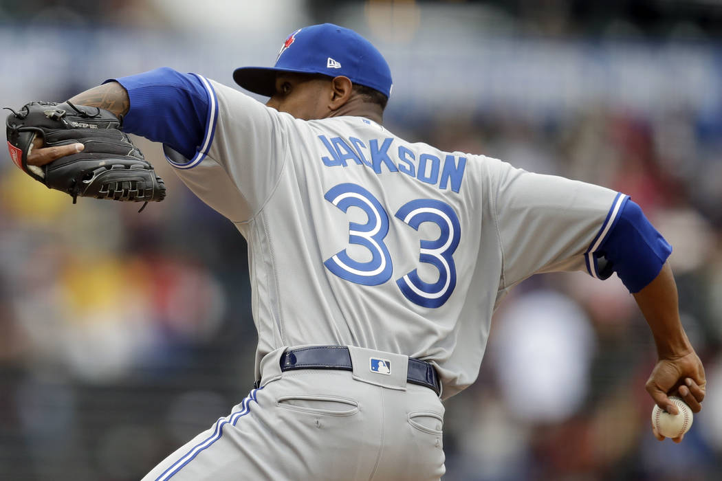 Toronto Blue Jays pitcher Edwin Jackson works against the San Francisco Giants in the first inn ...