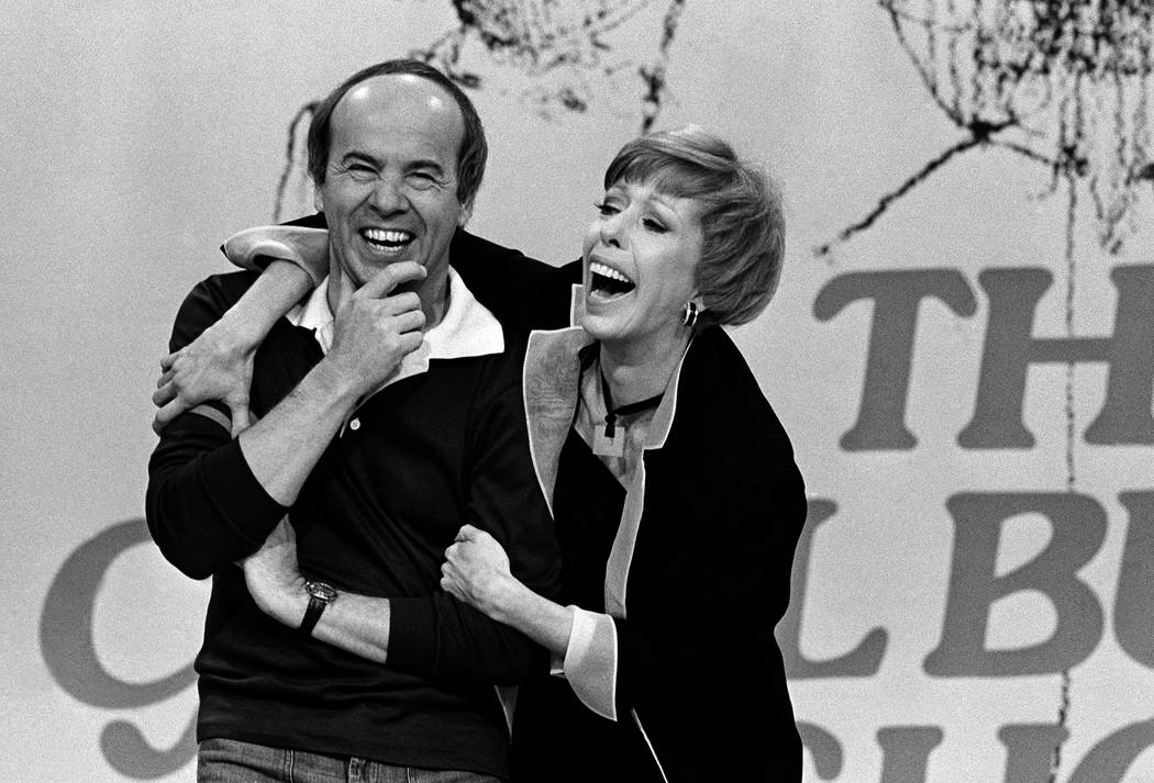 FILE - In this March 19, 1978 file photo, Carol Burnett, right, laughs with Tim Conway during t ...