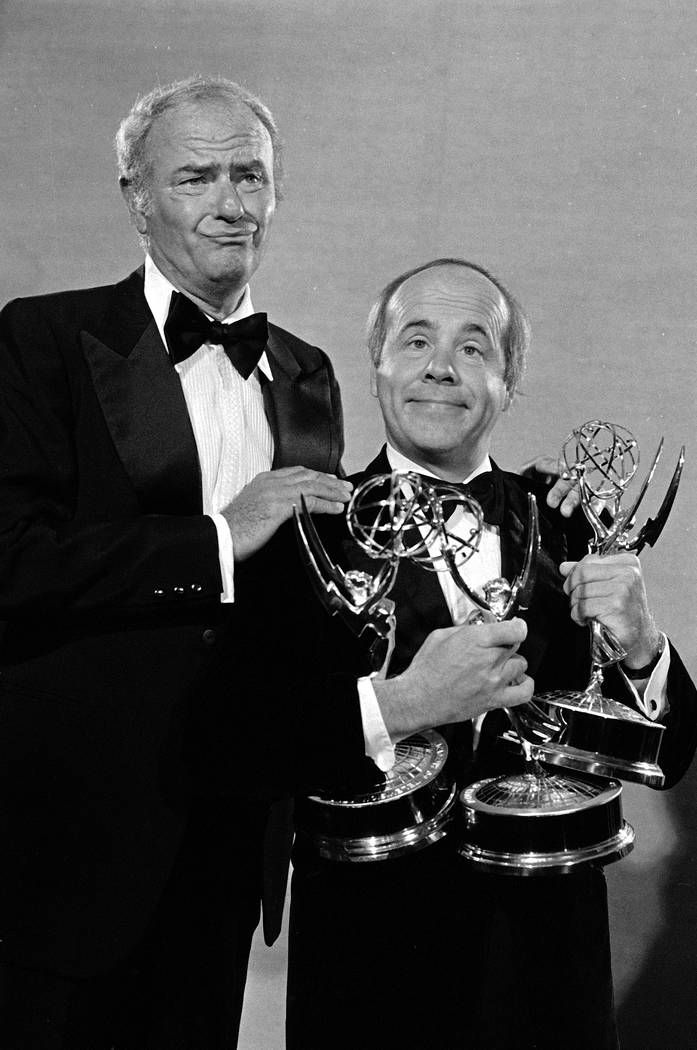 FILE - In this Sept. 18, 1978 file photo, comedians Harvey Korman, left, and Tim Conway show of ...