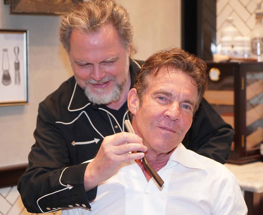 Michael Simon/startraksphoto.com Dennis Quaid getting a shave at The Barbershop Cuts & Cocktail ...