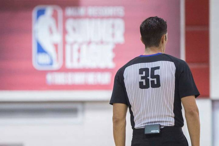 Referee Jason Goldenberg (35) works the Miami Heat's NBA Summer League game with the New Orlean ...