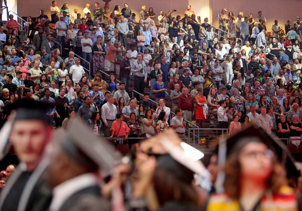 The Nevada State College graduation ceremony at The Orleans hotel and casino in Las Vegas, Tues ...