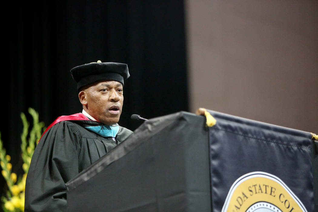 Commissioner Lawrence Weekly speaks at the Nevada State College graduation ceremony at The Orle ...