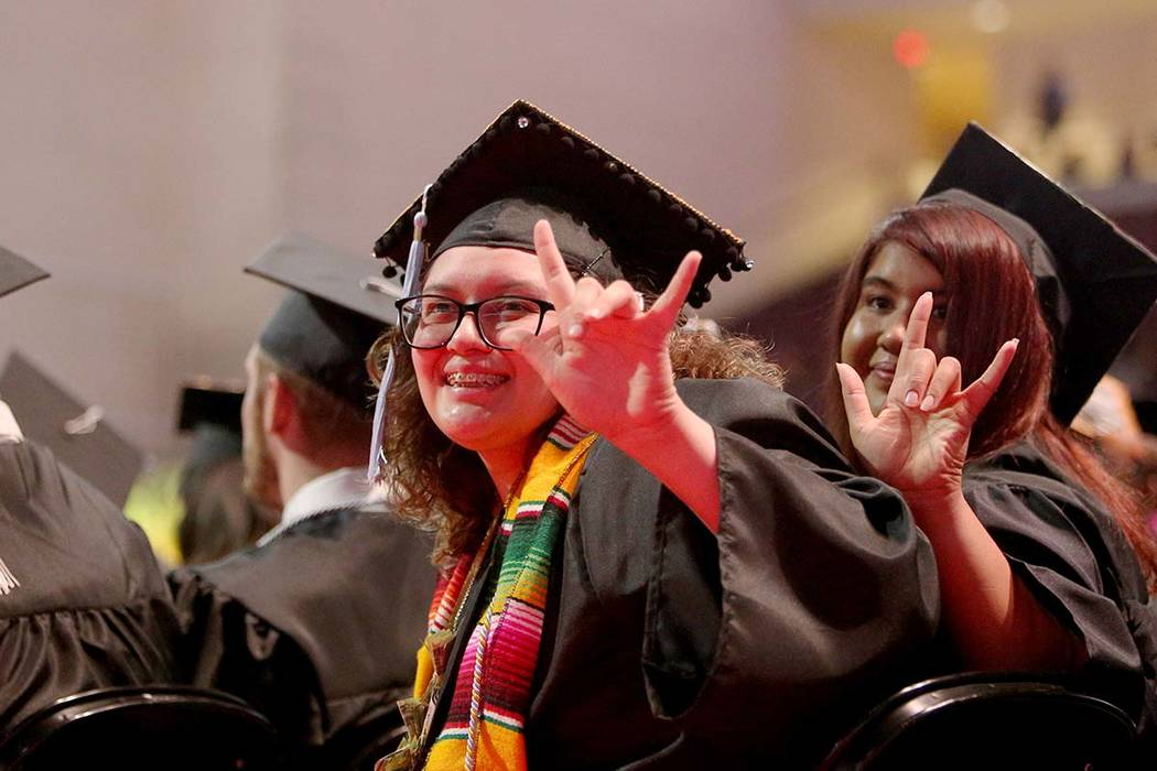 Students of the first graduating class for the new Deaf Studies program Vanessa Terraza, left, ...