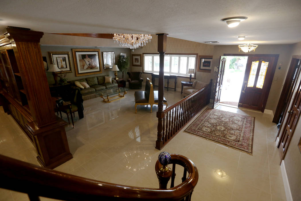 The front room and entry way at the former house of Jerry Lewis in Las Vegas, Wednesday, May 15 ...
