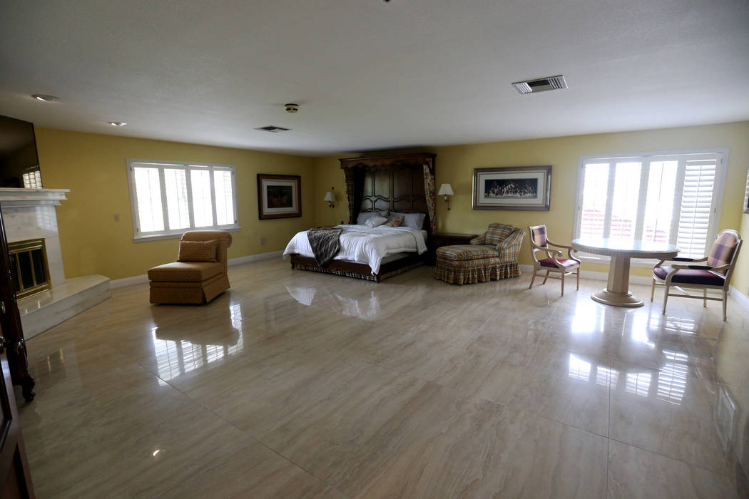 The master bedroom at the former house of Jerry Lewis in Las Vegas, Wednesday, May 15, 2019. Ja ...