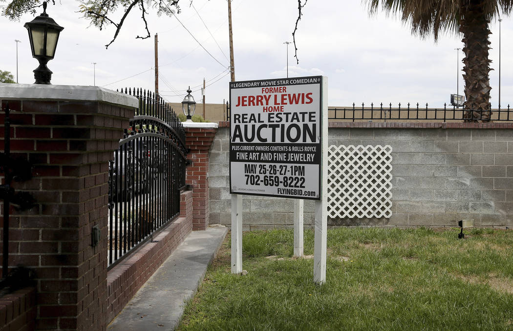 A sign for the former house of Jerry Lewis in Las Vegas, Wednesday, May 15, 2019. Jane Popple b ...