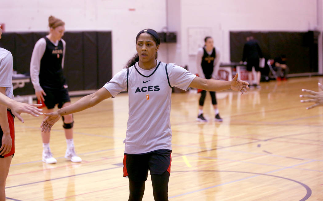 Veteran guard Sydney Colson fires up teammates during practice at the Cox Pavilion in Las Vegas ...